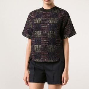 3.1 Phillip Lim Patchwork Tweed Silk Top Blouse 2